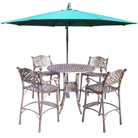 Oakland Living 6 Piece Cast Aluminum Patio Bar Height Bar Height Patio Dining Sets