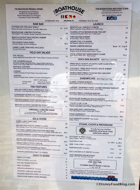 boat house menu what s new around walt disney world august 18 2016 the disney food blog
