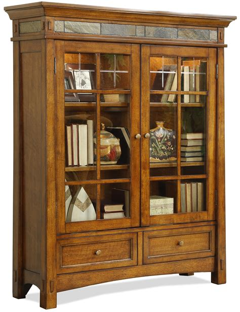 closed bookcase with glass doors riverside furniture craftsman home 2 glass door bookcase