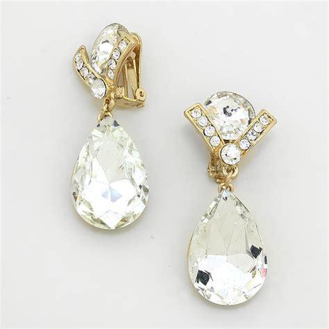 Rhinestone Teardrop Earrings dresstech store gold rhinestone teardrop earrings