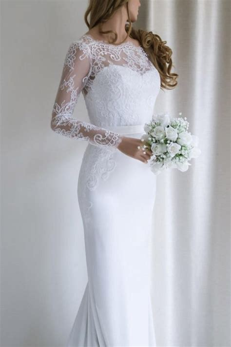 elegant mermaid   long sleeves lace wedding dress