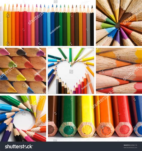 colorful pencils and office supplies collage stock photo color pencils collage stock photo 66086176 shutterstock