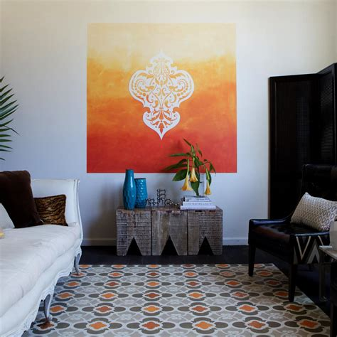 Learn How To Paint A Stenciled Ombre Wall Mural How Tos Diy Wall Mural Templates