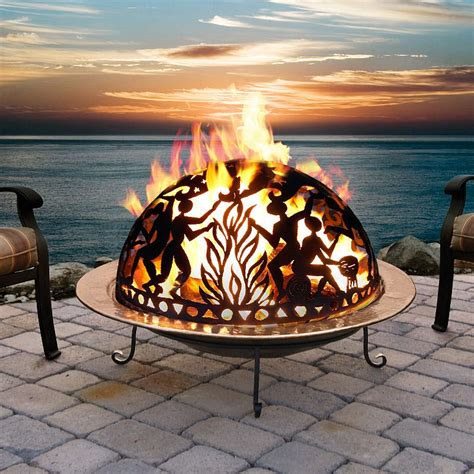 backyard fire pits full moon party copper fire pit set 777md