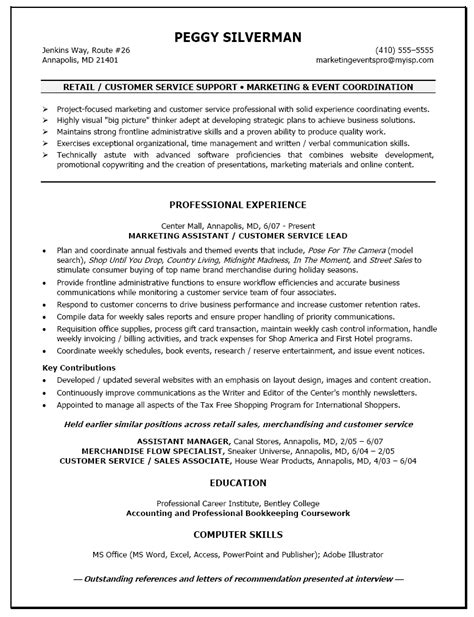 Sle Of Customer Service Retail Resume Retail Customer Service Resume Sle Quotes