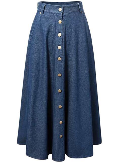 Rok Denim Maxi Skirt Dominggo Rok fashion button front pleated maxi denim skirt oasap