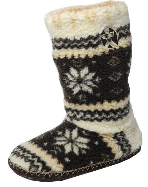 fleece boot slippers mens bedroom athletics fairisle sherpa fleece fur