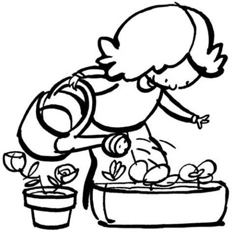 imagenes de animales y plantas para colorear dibujo de ni 241 a regando las plantas para imprimir y colorear
