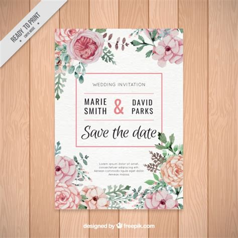 Wedding Flower Vector by Beautiful Wedding Invitation Of Watercolor Flowers Vector
