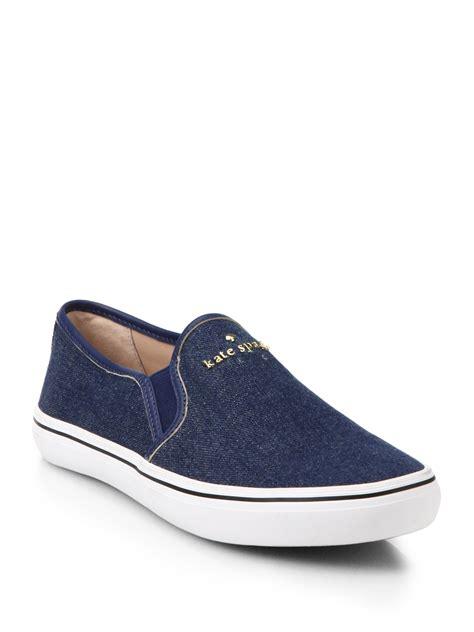 Sneakers Denim 1 lyst kate spade new york sylus denim slip on sneakers in blue