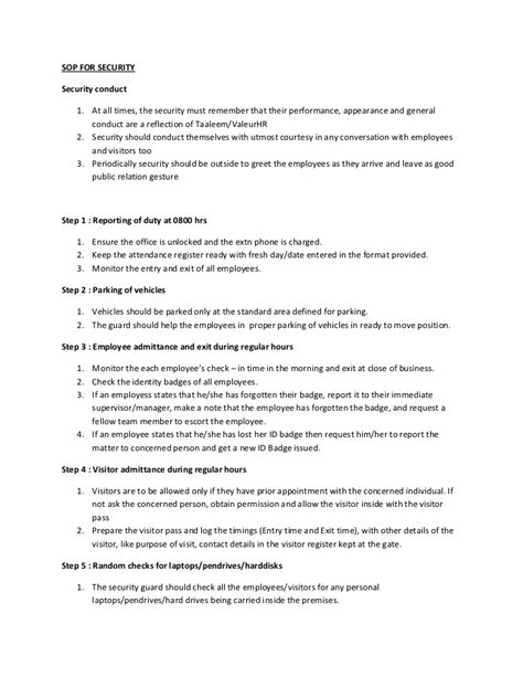 security procedures template sop for security