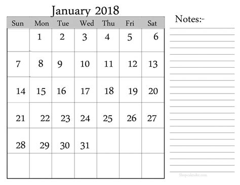 printable calendar 2018 with notes january 2018 calendar with notes space printable 2018