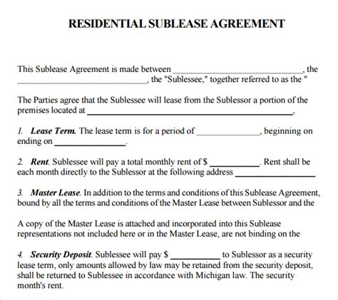 sublet tenancy agreement template uk printable sle sublease agreement template form real