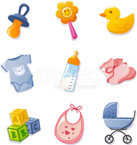 Bibs Set Duck baby icon elements set pacifier duck feeding bottle