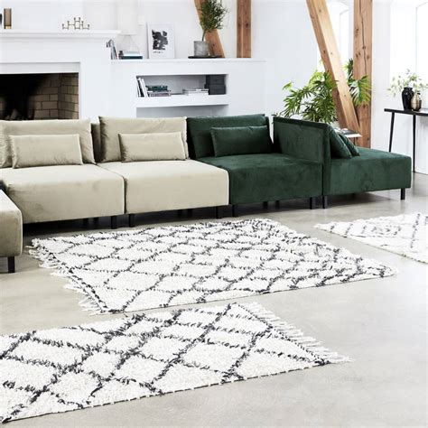 teppich 180 x 200 house doctor zena rug 180x180 cm black white cotton