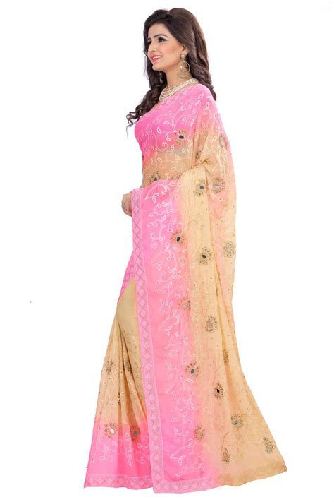 which colour blouse suits for pink saree buy designer embroidered nazneen pink and beige double