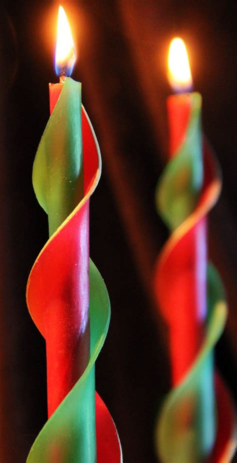 red and green beeswax candle christmas candle taper candle