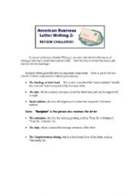 Business Letters American Teaching Worksheets Business Writing