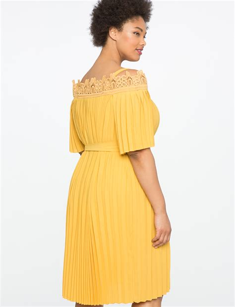 Shoulder Pleated Dress lace the shoulder pleated dress s plus size