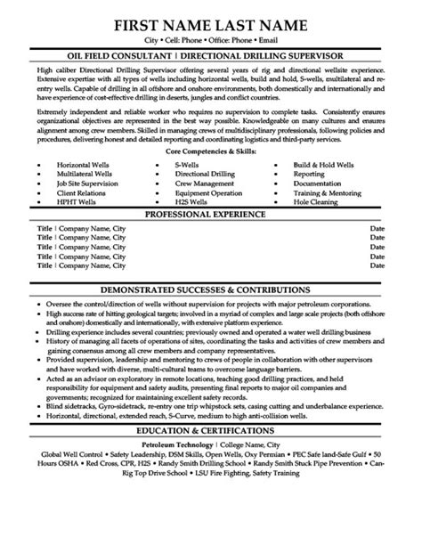 Drilling Superintendent Sle Resume by Directional Drilling Supervisor Resume Template Premium Resume Sles Exle