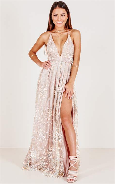 new york nights maxi dress in gold showpo