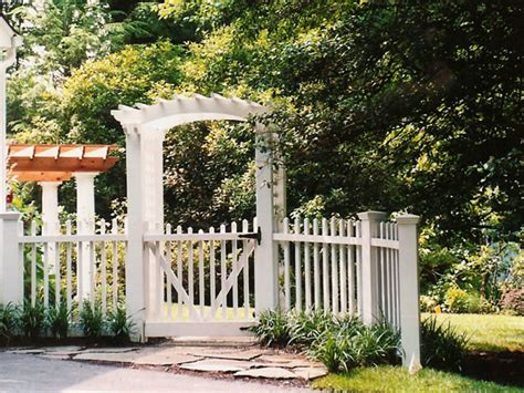 Garden Arbor With Gate White White Picket Fence With Gate And Arbor Traditional