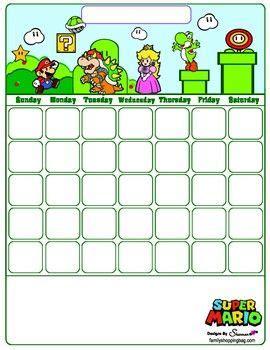 calendar calendars mario crafts mario super mario birthday