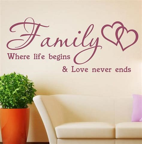ebay wall stickers quotes wall quote wall sticker family where begins vinyl
