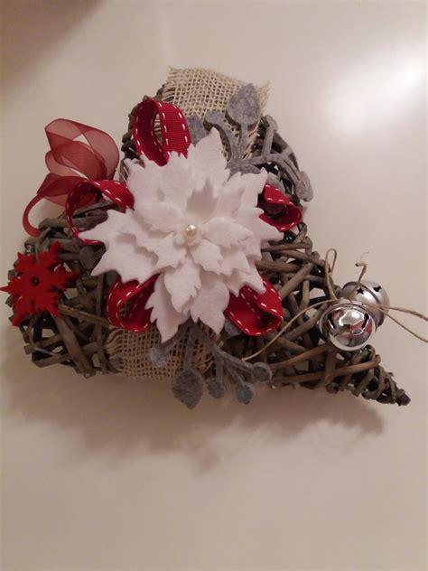 di vimini cuore in vimini decorato in feltro feste natale di