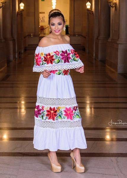 multicolor embroidered  shoulders mexican dress white