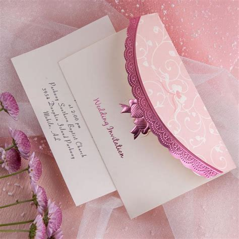 Einladung Hochzeit Rosa by Beautiful Deco Embossed Tri Fold Budget White And Pink