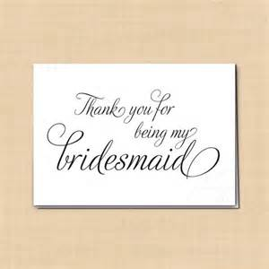 thank you for being my bridesmaid printable wedding card