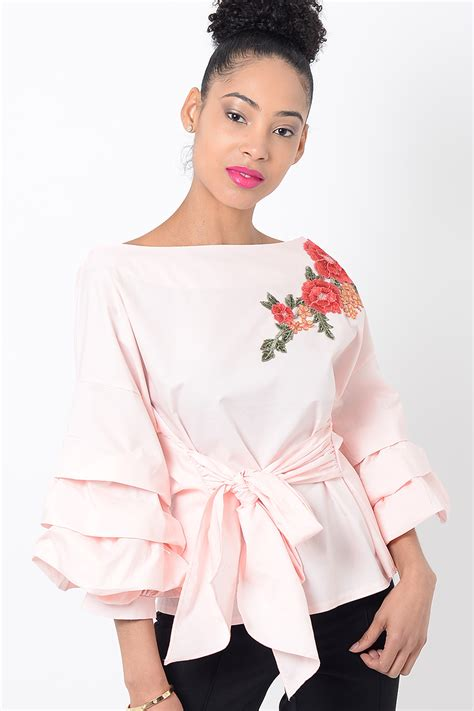 White Front Embriodery S M L Top 1 stylish pink embroidered ruffle sleeve top stylish tops ruffle top