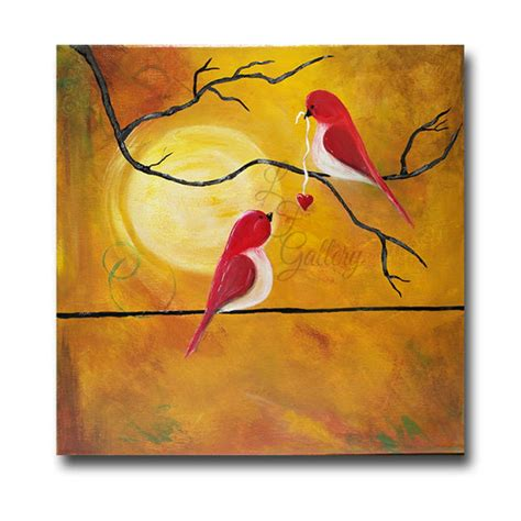 valentines painting original canvas painting birds painting birds on wire