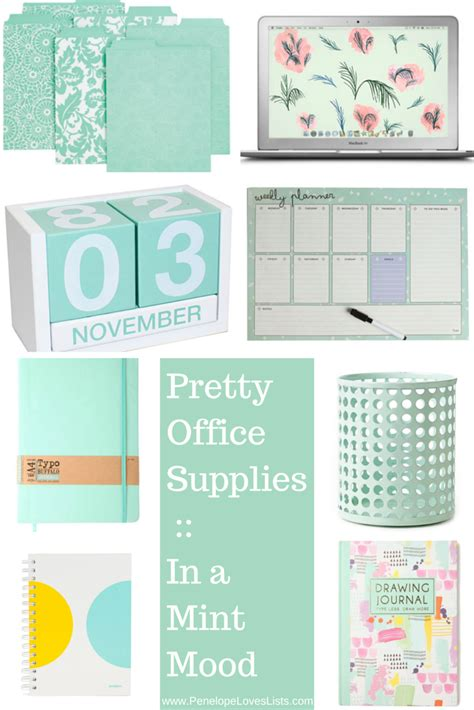 girly office desk accessories pretty office supplies in a mint mood