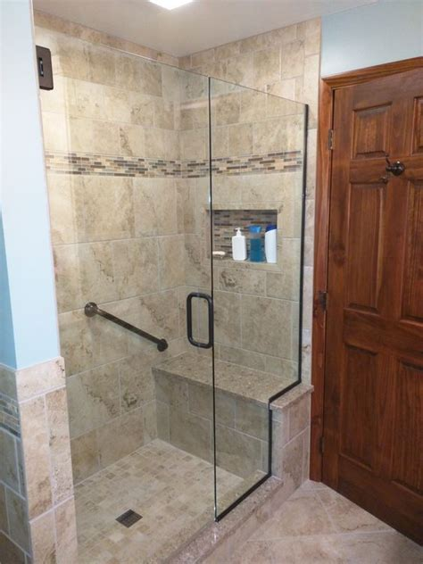 tile shower  bench seat  cambria quartz tiled wall