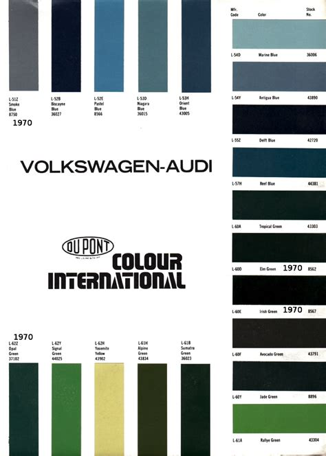 Audi Colour Codes by 1970 Volkswagen And Audi Paint Charts And Color Codes
