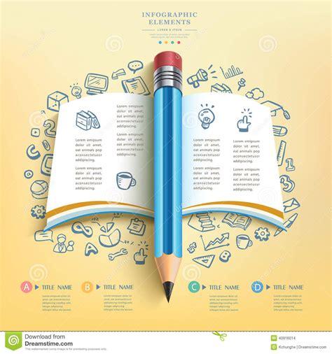 4 designer illustration style education business education pencil infographics stock vector