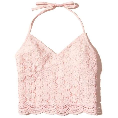 45189 Pink Halter Lace Blouse Blouse Pink Renda Hitam hollister lace halter crop top 82 brl liked on polyvore featuring tops crop top light pink