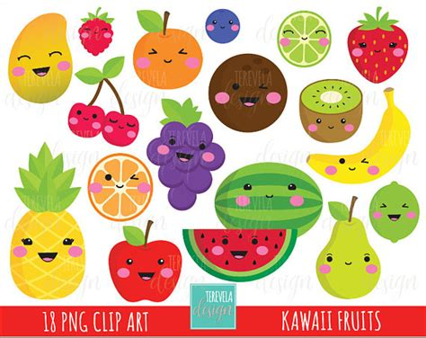 imagenes kawaii de frutas 50 sale kawaii fruit clipart commercial use cute clipart