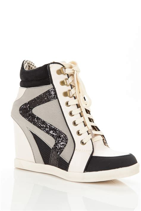 glitter accent wedge sneakers cicihot wedges shoes store