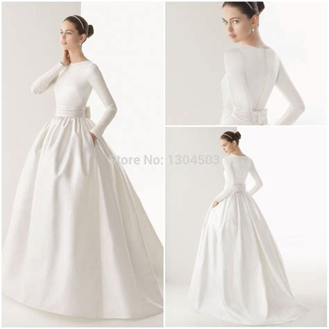 boat neck ball gown wedding dress 2015 boat neck muslim wedding dress long sleeve sash bow