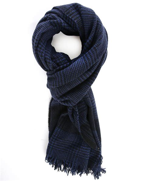 scotch soda blue prince of wales wool scarf in blue for