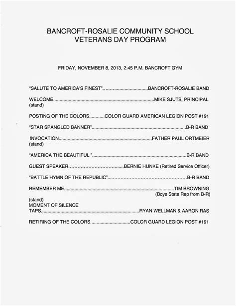 Veterans Day Program Template Dr Cerny S B R Hype November 2013