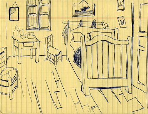 Sketches Gogh by Sketch Of Gogh S Bedroom Vincent Gogh 1888