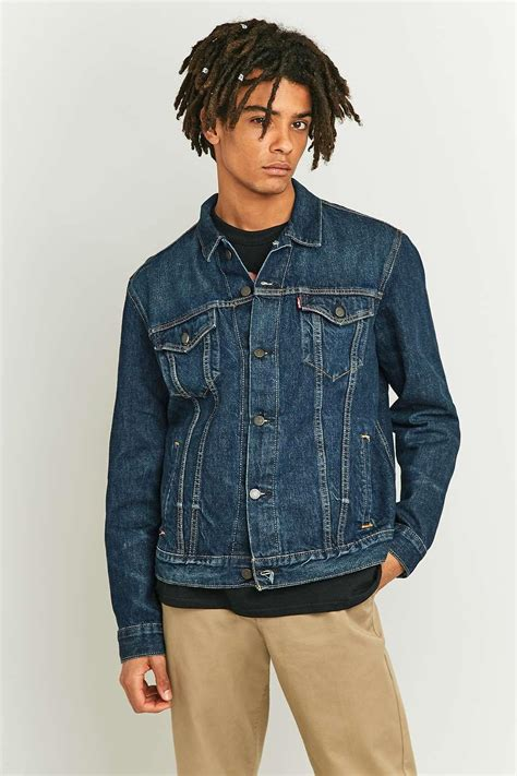 Selvedge Trucker Jacket levi s b side selvedge denim trucker jacket in blue for