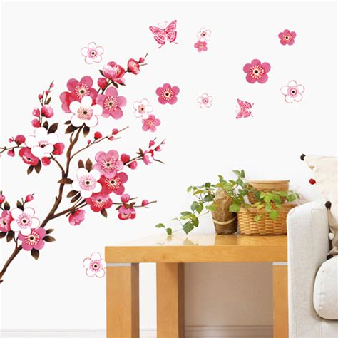 cherry blossom wall poster waterproof background sticker