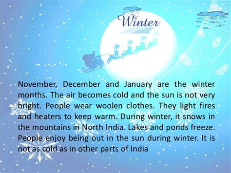 Winter Season Essay For Class 8 by Weather And Seasons