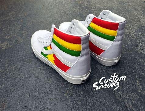 jamaican colored sneakers custom vans vans sk8 hi custom rasta design rastafari