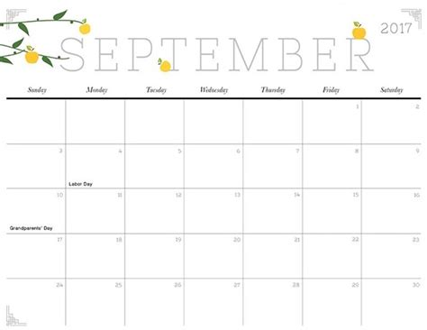 Calendar For September 2017 September 2017 Calendar Calendar 2017 Printable